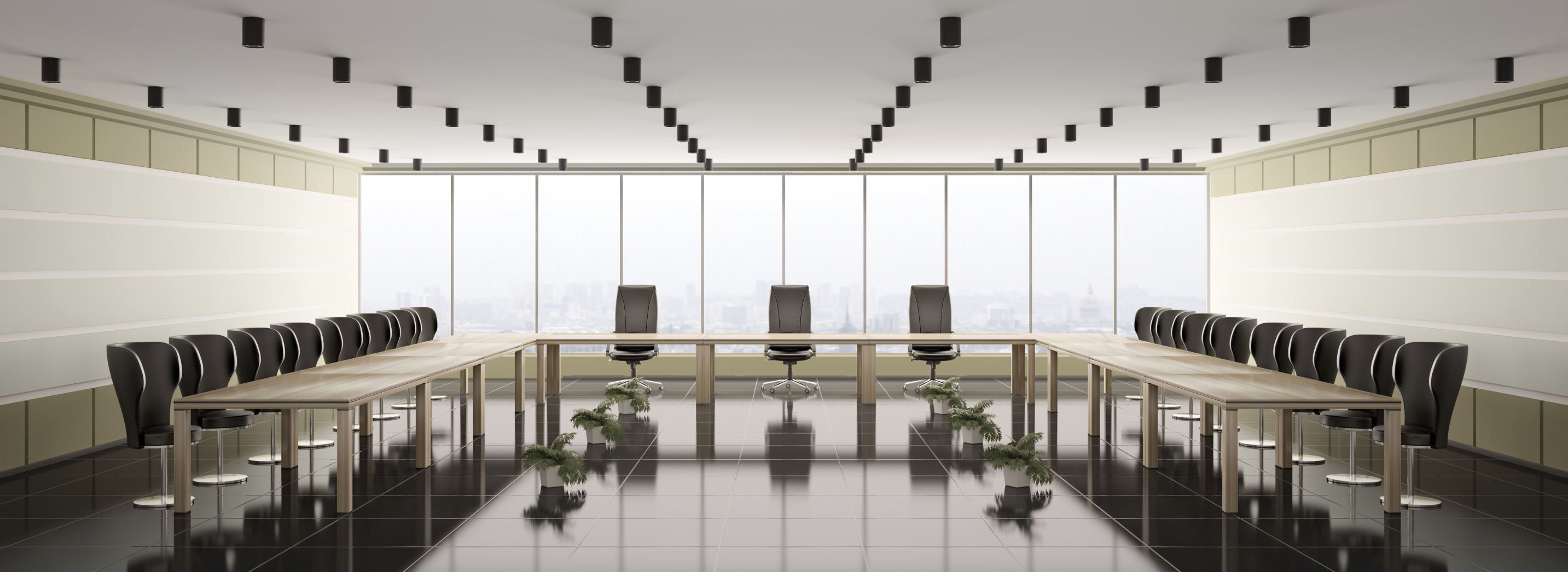 Modern boardroom interior panorama 3d